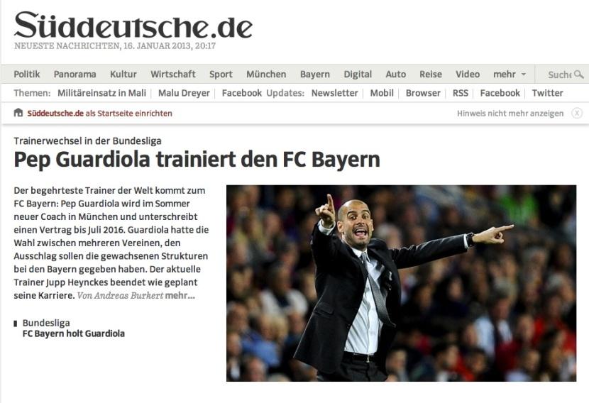 Portada del Süddeutsche Zeitung, aquest dimecres de vesprada