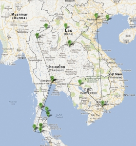 Una ruta posible por Tailandia, Laos, Vietnam y Camboya