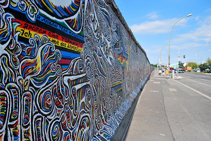 Un trozo de la East Side Gallery en Berlín