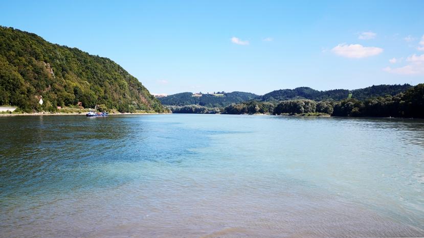 El 'Dreiflüssse-Eck' vist allà mateix, amb l'aigua del Danubi per l'esquerra i la de l'Inn per la dreta; l'Ilz no s'aprecia