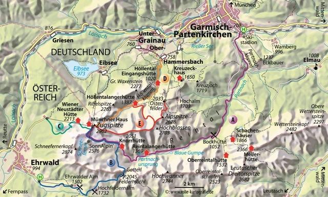 Mapa de las cinco rutas posibles para ascender Zugspitze. Nosotros subimos por Austria por la B, si bien detallo también la opción A. /Deutscher AlpinvereinChristian Rolle