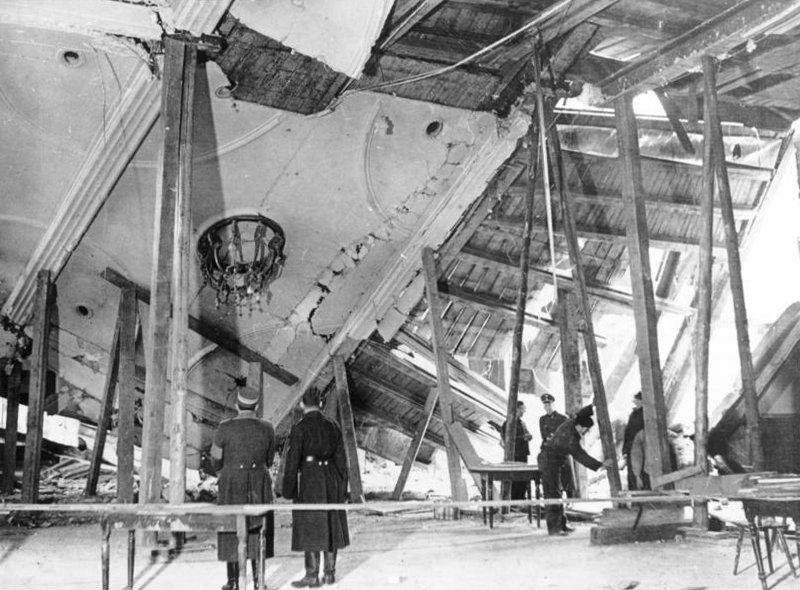 El Bürgerbräukeller, el 9 de noviembre del 38 tras el atentado