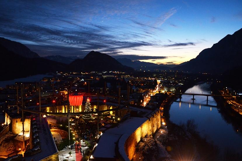 Vista al anochecer desde la fortaleza de Kufstein