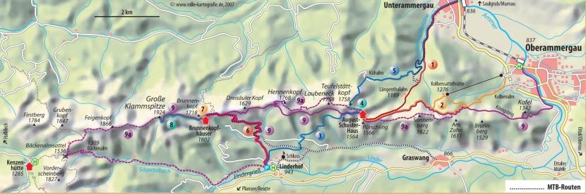 Diferents rutes per a pujar a Pürschling o el Klammspitze