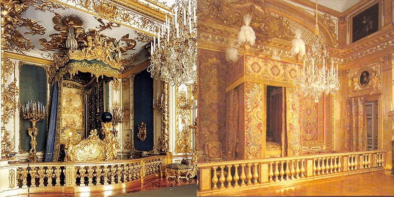 Los dormitorios de Herrenchiemsee, izquierda, y de Versalles, derecha. /FOTO: WEB