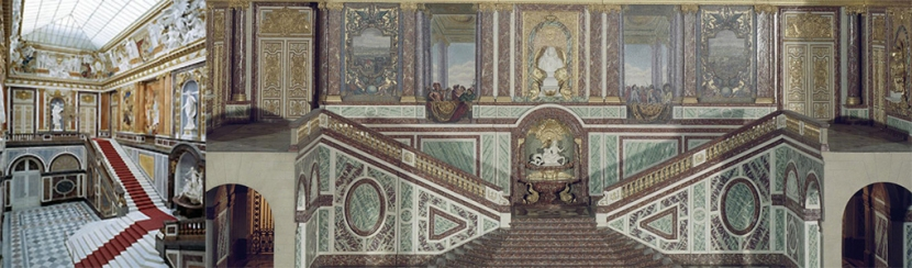La gran escalera de Herrenchiemsee, izquierda; derecha, reconstrucción de la versallesa. /FOTO: WEB + SCHLOSS HERRENCHIEMSEE