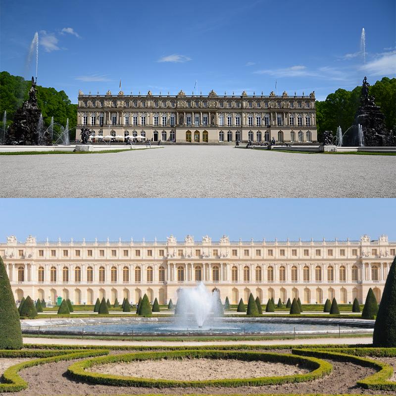 Fachada principal en Herrenchiemsee y Versalles