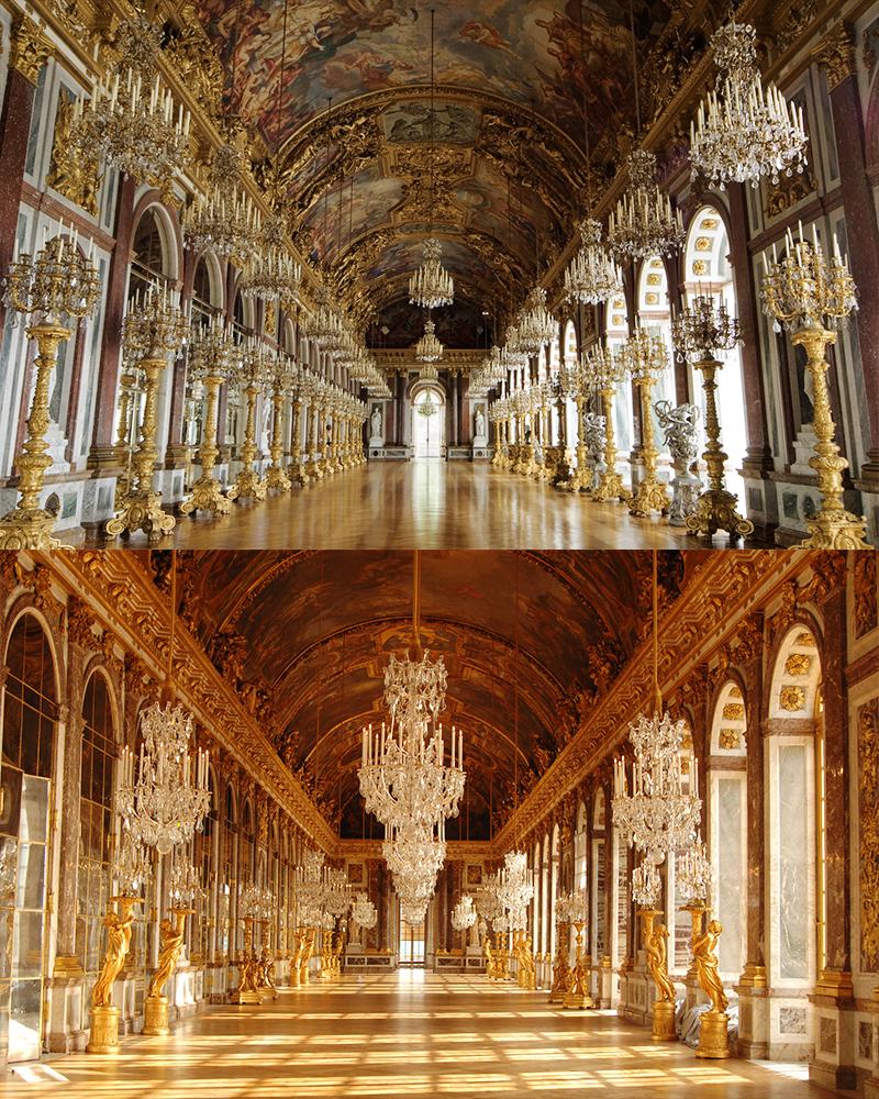 Galerías de los Espejos. Arriba, Herrenchiemsee; abajo, Versalles. /FOTOS: WEB